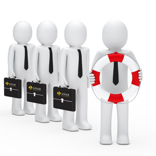 3d business men with briefcase and lifebelt